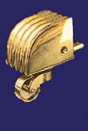 Vintage Recreated Reeded Brass Toe Cap Caster 1