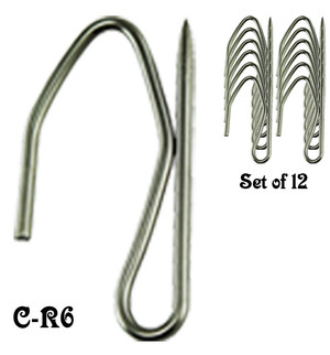 Pin-Style-Steel Curtain Hook Set of 12 (C-R6)