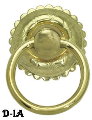 "Eastlake Style 1 3/4"" Ring Pull with 1 3/4"" Diameter Backplate (D-1A)"
