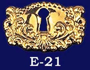 Victorian Large Fancy Stamped Brass Keyhole (E-21)