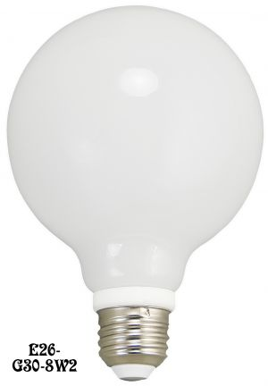 LED Bulb G30 Opal Glass Globe E26 Base 8 Watt 2700K - Dimmable (E26-G30-8W2)