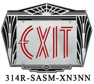 Art Deco Aluminum Face Exit Sign (314x-SASM-XN3NN)