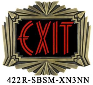 Art Deco Cast Brass Exit Sign (422x-SBSM-XN5NN)