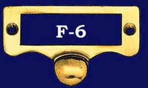 File Cabinet Brass Label Frame With Pull (F-6)