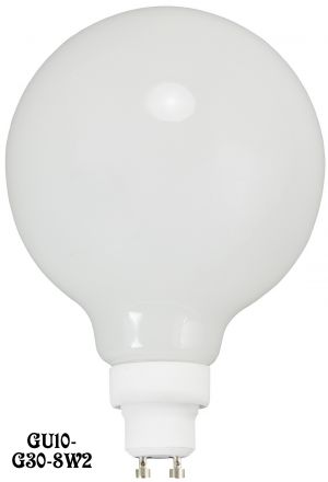 LED Bulb G30 Opal Glass Globe GU10 Base 8 Watt 2700K - Dimmable (GU10-G30-8W2)
