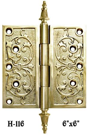"6"" x 6"" Pair Of Victorian Pattern Hinges - Choice of Finish (H-116)"