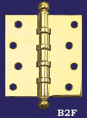 "3 1/2"" x 3"" Pair of Hinges with Ball Finials (H-3530-B2F)"