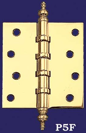 "3 1/2"" x 3"" Pair of Hinges with Pyramid Finials (H-3530-P5F)"
