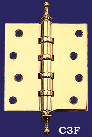 "4"" x 3 1/2"" Pair of Hinges with Crown Finials (H-4035-C3F)"