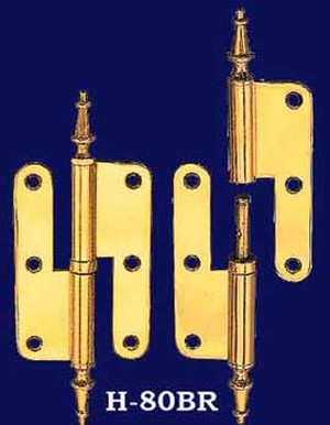 Pair of Right Hand Lift Off Hinges with Spire Finials (H-80BR)