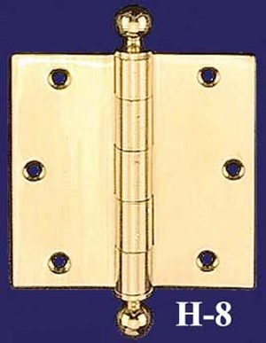 "Pair Of Extruded 3 1/2"" Wide Ball Finial Hinges - Choice of Finish (H-8)"