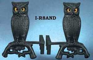 Pair of Cast Iron Owl Andirons (I-R8AND)
