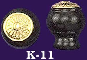 Ebonized Wooden Knob with Eastlake Brass Top (K-11)