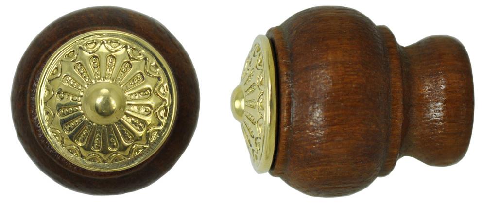 Vintage Hardware & Lighting - Wooden Knob With Eastlake Design Brass ...