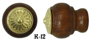 Wooden Knob With Eastlake Design Brass Top (K-12)