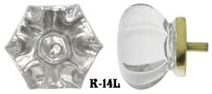 Victorian Style Large Clear Glass Knob 1 7/8