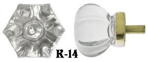 "Victorian Style Clear Pressed Glass 1 5/8"" Knob (K-14)"