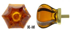 "Vintage Style 1 1/4"" Amber Glass Knob - Choice Of Finish (K-16)"