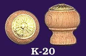 Oak Knob With Eastlake Design Brass Center (K-20)