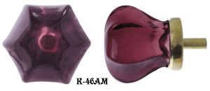 "Victorian Amethyst Glass Knob 1 1/4"" Diameter (K-46AM)"