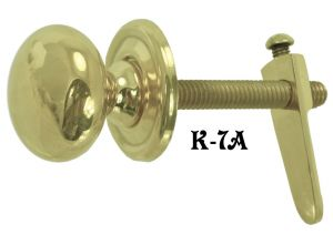 "1"" Brass Knob with Cupboard Latch (K-7A)"