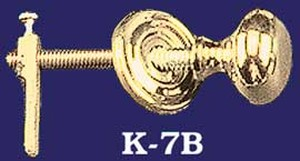 "Victorian Style 1 1/4"" Brass Knob with Cupboard Latch (K-7B)"