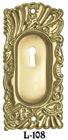 Roanoke Small Pocket Door Plate with Keyhole - Choice of Finish (L-108)