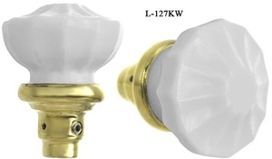 Antique Style Victorian Recreated White Milk Glass Door Knobs Set (L-127KW)