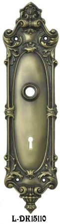 Rim-Lock-Matched-Rococo-Yale-Pattern-Doorknob-and-Keyhole-Plate-(L-15110)
