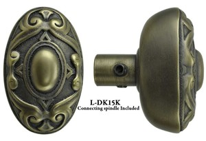 Victorian Rococo Yale Pattern Oval Doorknob Set - Choice Of Finish (L-15K)
