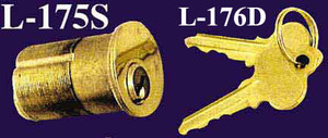 "Two Matching 1.75"" Long Cylinder Locks (L-176D)"
