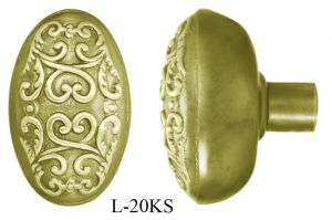 Victorian Single Oval Scroll Door Knob (L-20KS)