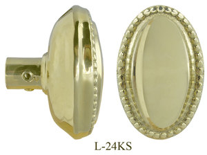 Victorian Oval Beaded Doorknob Single Knob (L-24KS)