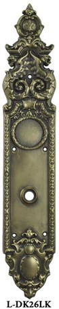 Victorian Style Brass Heraldic Low Knob Only Door Plate (L-26LK)