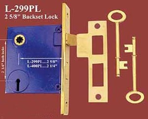 "Recreated Skeleton Key Mortise Lock 2 5/8"" Backset 2 1/4""cc (L-299PL)"