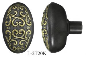 Victorian Scroll Design Oval Knobs - Pair (L-20K)