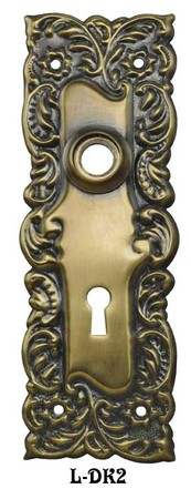 "Victorian Design Scroll Doorknob Backplate 2 1/4""cc (L-2)"