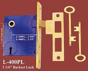 "Recreated Cast Mortise Lock With Skeleton Key 2 1/4"" Backset 2 1/4""cc (L-400PL)"