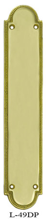 Art Deco Narrow Beaded Edge Door Pushplate Brass Or Nickel (L-49DP)