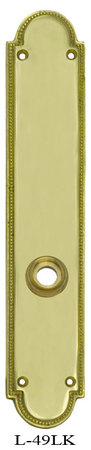 Art Deco Narrow Beaded Edge Backplate For Low Knob Only Brass Or Nickel (L-49LK)