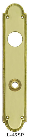 Art Deco Narrow Beaded Edge Cylinder Receiver Door Plate (L-49SP)