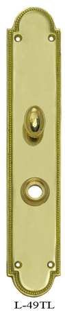 Art Deco Narrow Beaded Edge Turnlatch & Knob Door Plate (L-49TL)