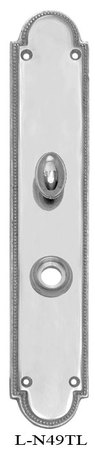 Narrow-Beaded-Edge-Turnlatch-and-Knob-Door-Plate-(L-49TL)