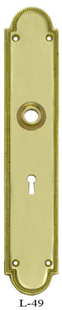 Art Deco Narrow Beaded Edge Doorknob Backplate (L-49)