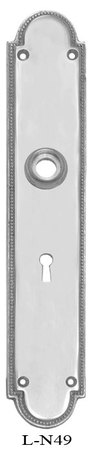 Narrow-Beaded-Edge-Doorknob-Backplate-(L-49)