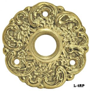 Cast Brass Floral Doorknob Rose - Choice Of Finish (L-4RP)
