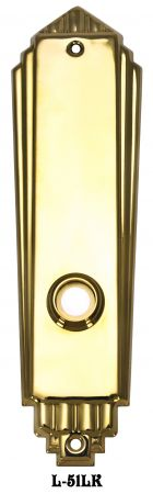Art Deco Door Plate No Keyhole Low Knob (L-51LK)