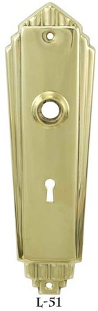 "Art Deco Recreated Door Plate With Keyhole 2 1/4""cc (L-51)"