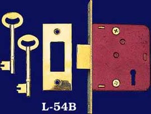 "Recreated Skeleton Key Deadbolt Lock 1 3/4"" Backset (L-54B)"