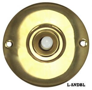 Plain Round Brass Electric Pushbutton Doorbell (L-5NDBL)